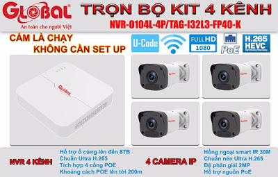 Trọn bộ KIT 4 kênh IP 2MP Global